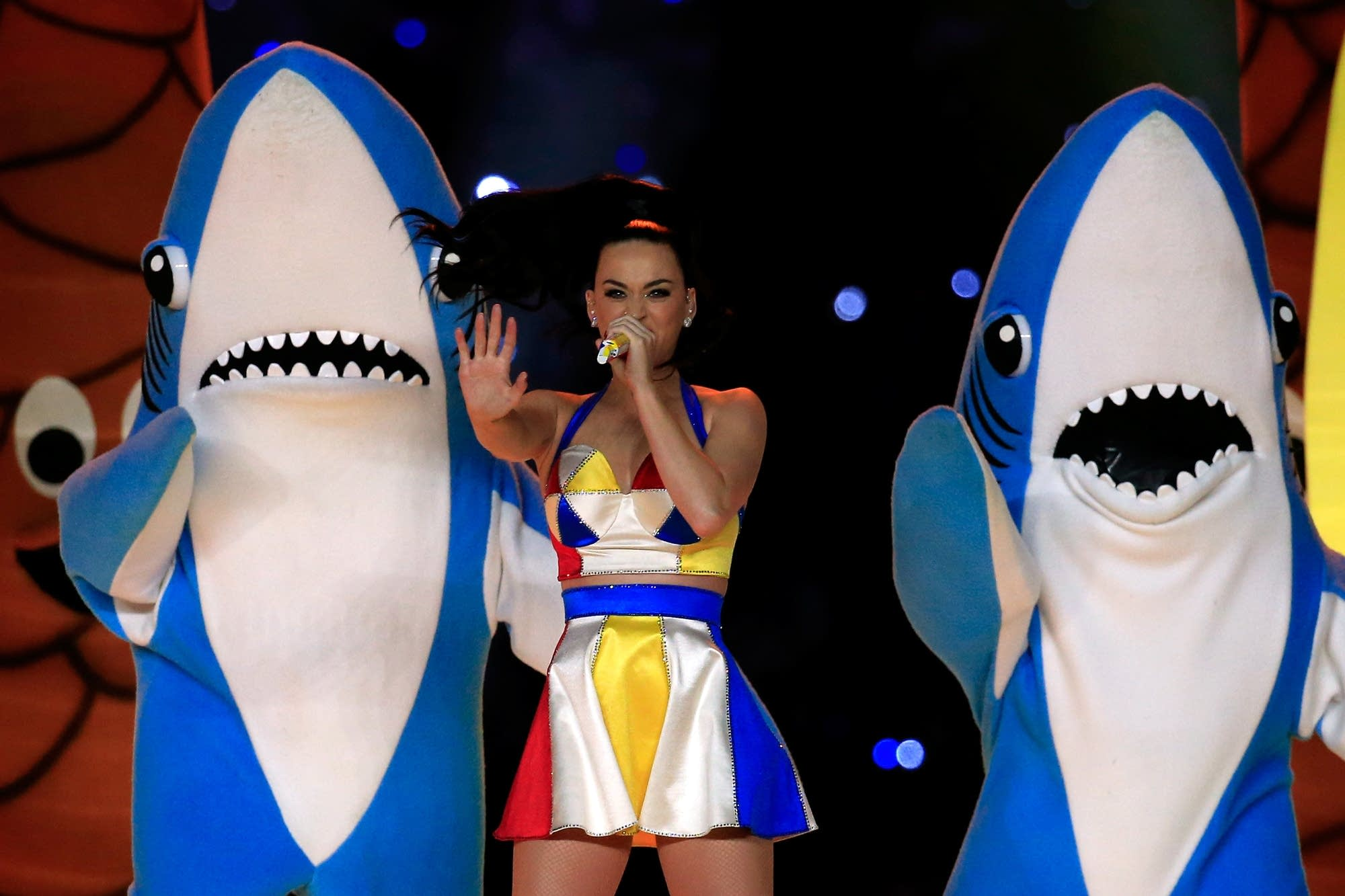 Katy Perry performs during the Super Bowl halftime show in 2015.