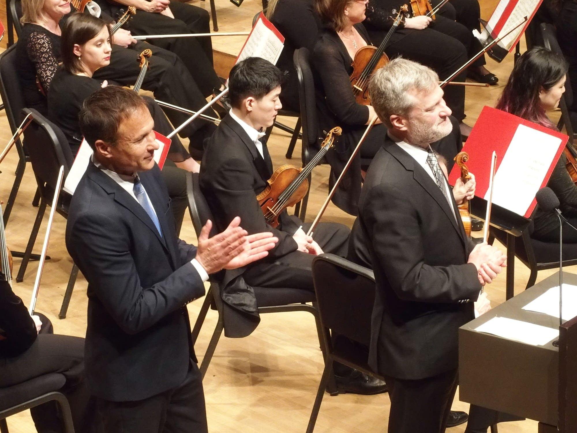 Sons Paul Sebastien (left) and Nick Skrowaczewski