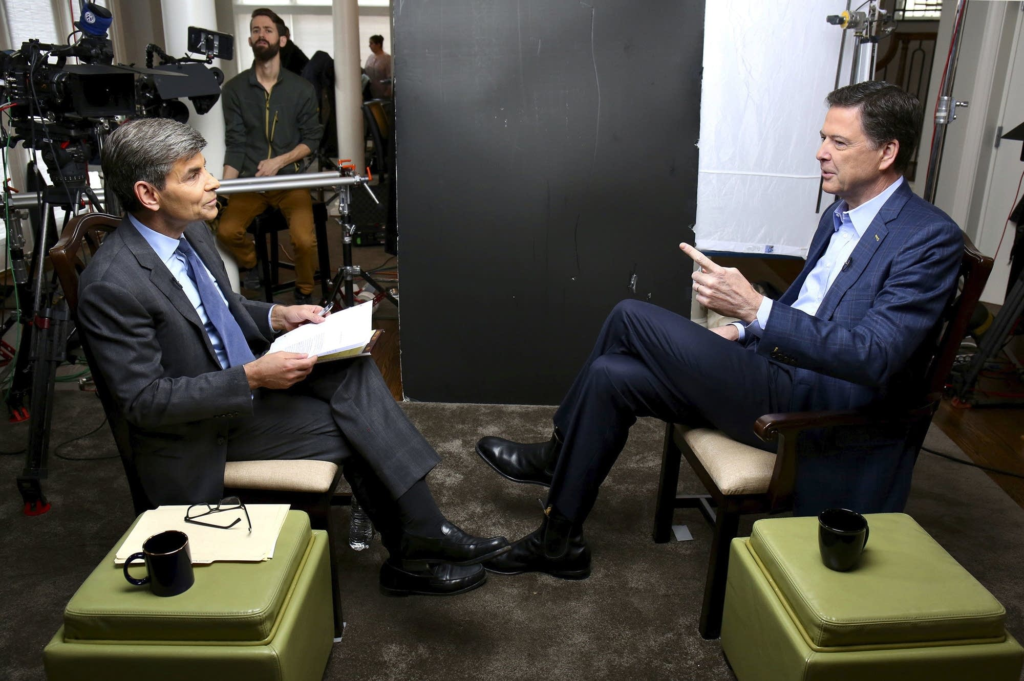 George Stephanopoulos, left, interviews former FBI director James Comey.