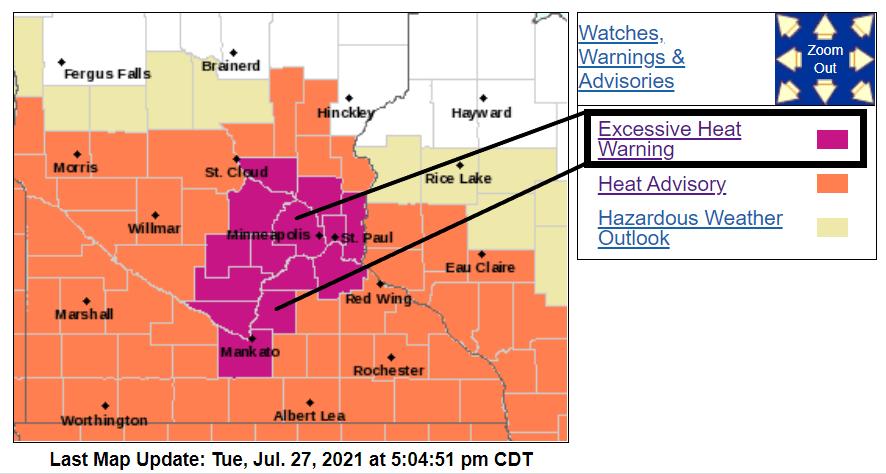 Excessive heat warning Wednesday