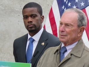 Michael Bloomberg, spoke at a news conference on Monday