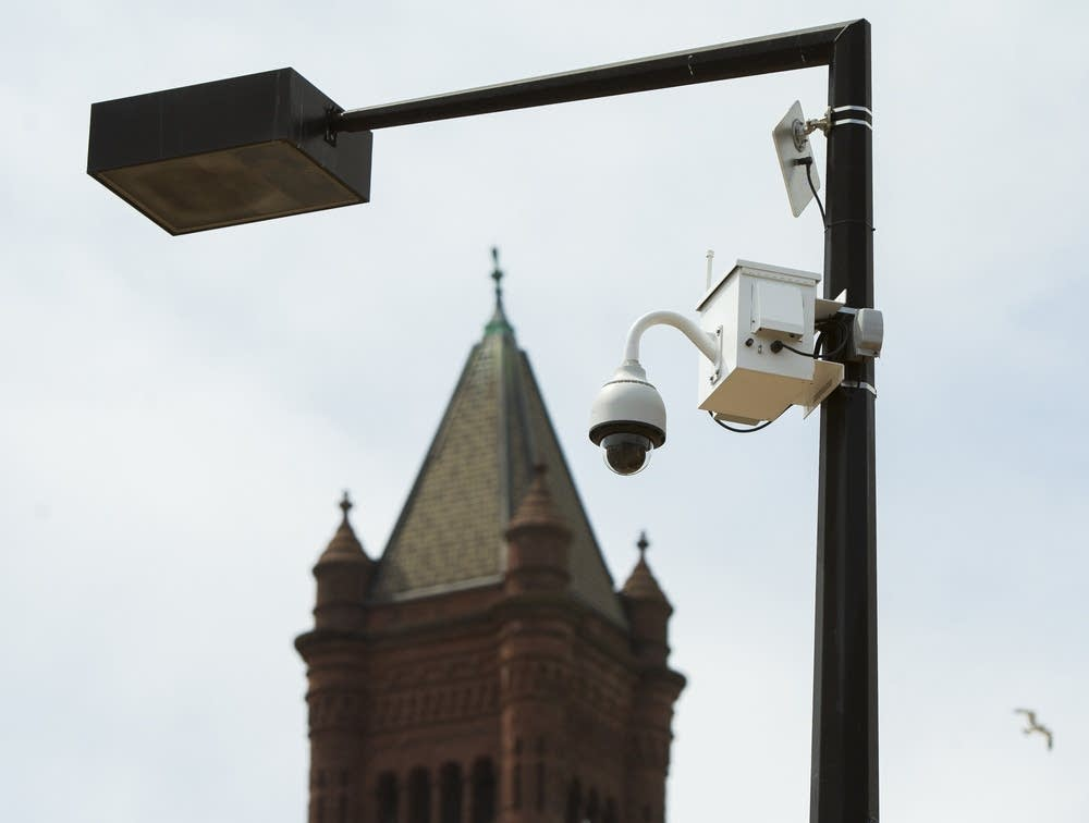 A police camera in downtown Duluth, Minn.