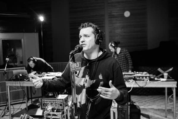 Atmosphere performing in The Current studio