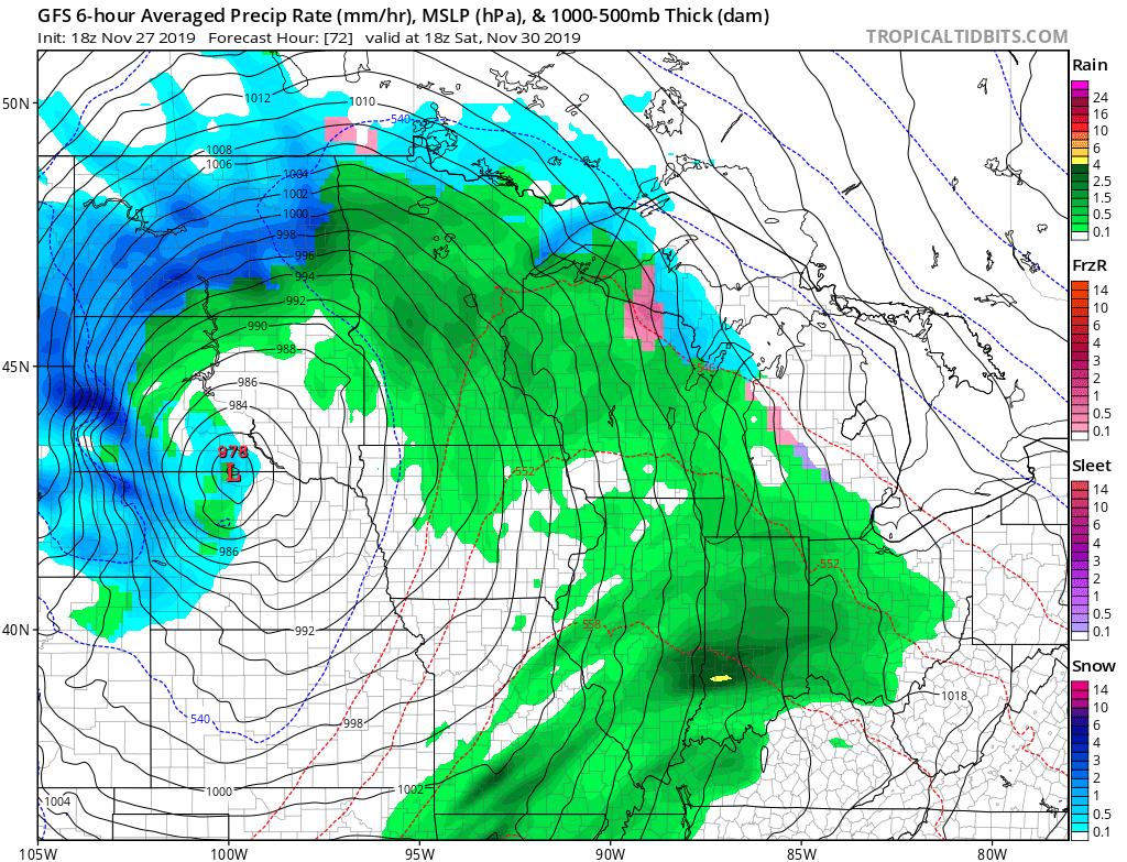 NOAA GFS model Saturday