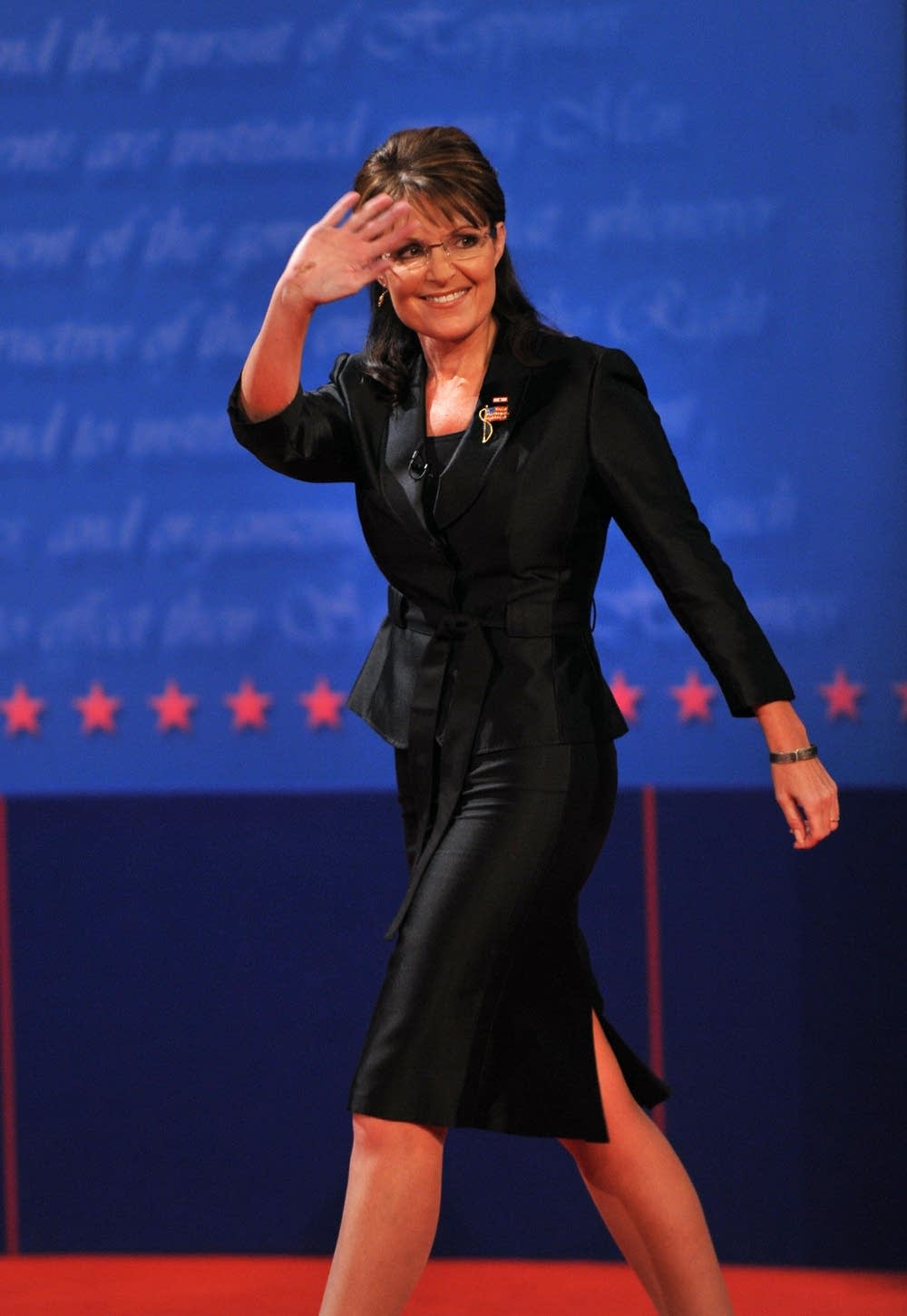 Republican Sarah Palin arrives on stage