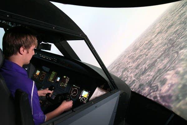 Brett Gagan used a flight simulator.