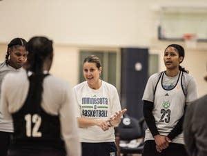 Minnesota Lynx head coach Cheryl Reeve talks to players