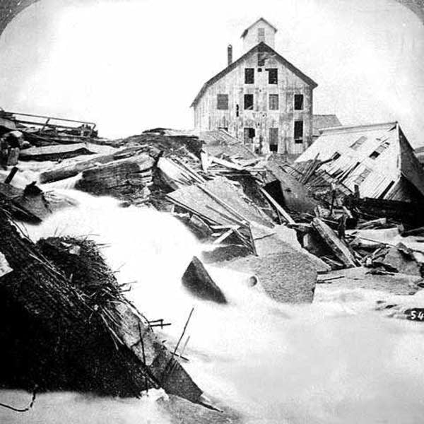 Break in the tunnel at Saint Anthony Falls, 1869