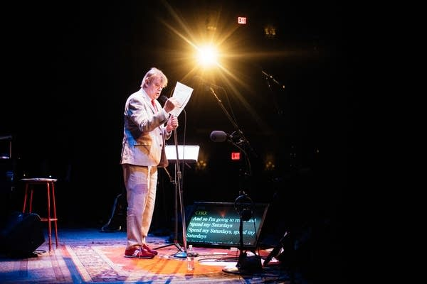 Keillor on stage at Town Hall in New York City on April 16, 2016.
