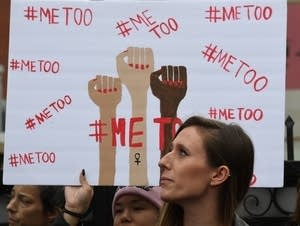 Victims of sexual harassment and abuse protest during a #MeToo march.