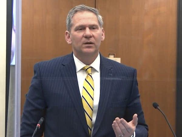 Prosecutor Steve Schleicher speaks during the Derek Chauvin trial.