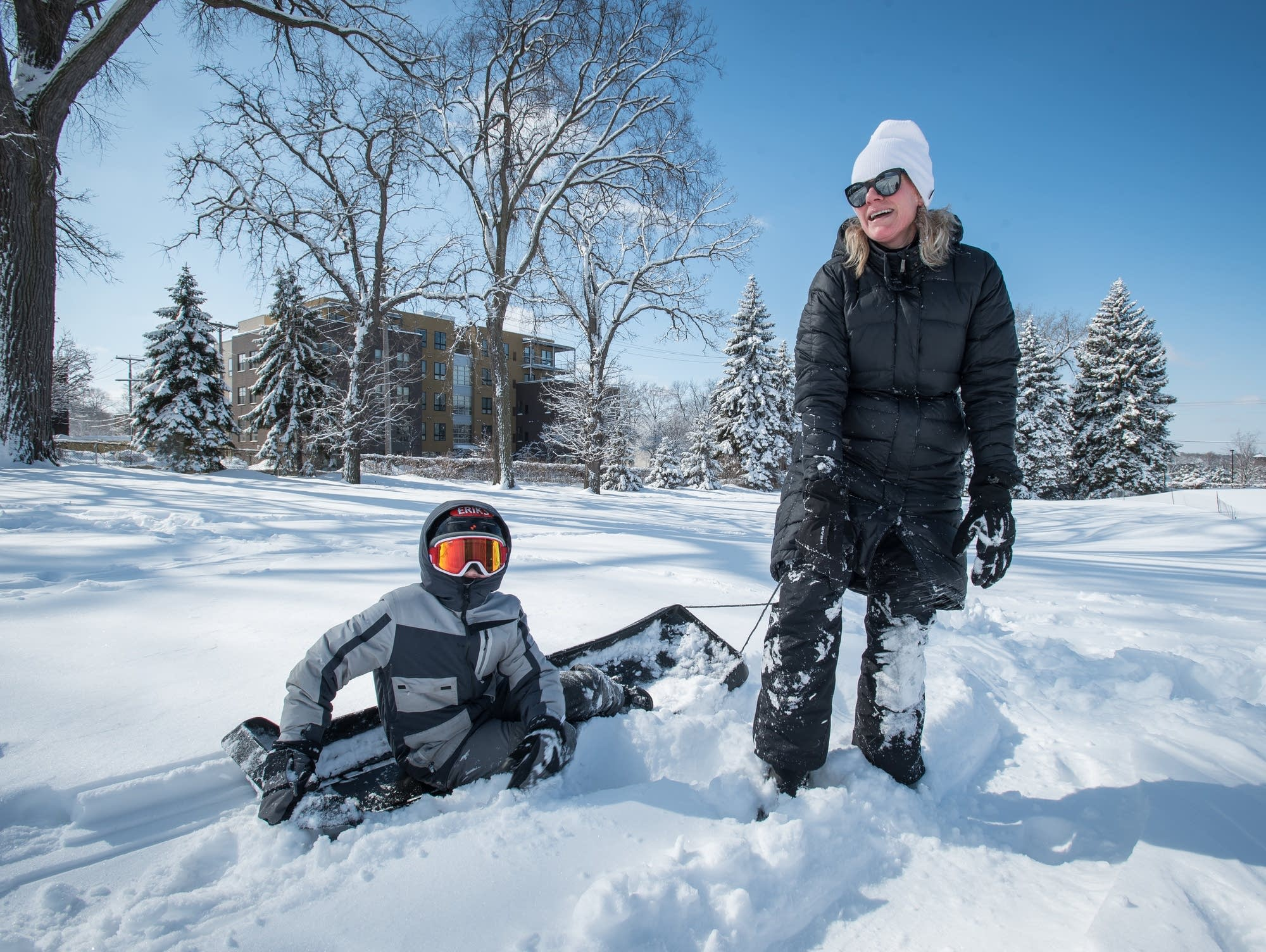 Sledding in St. Paul after a winter storm