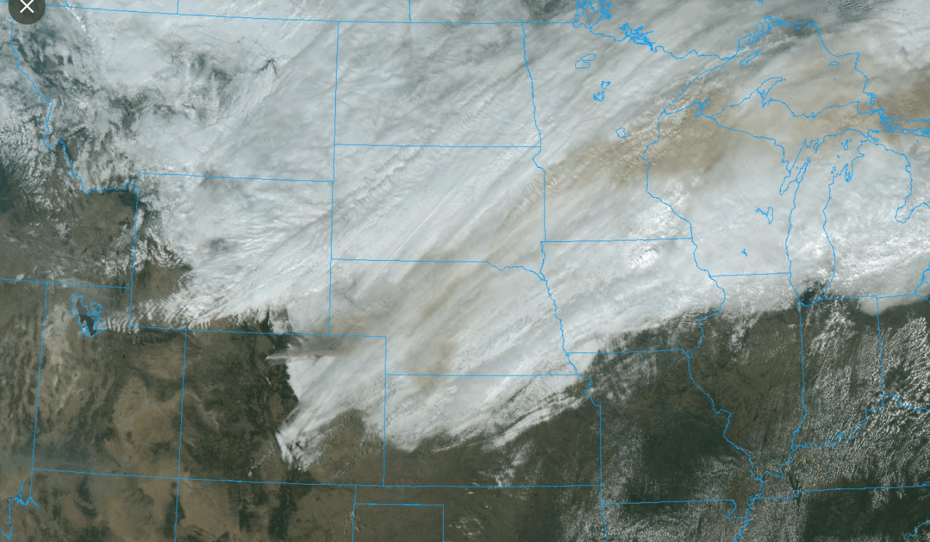 Smoke layer from Colorado wildfires over the Upper Midwest.