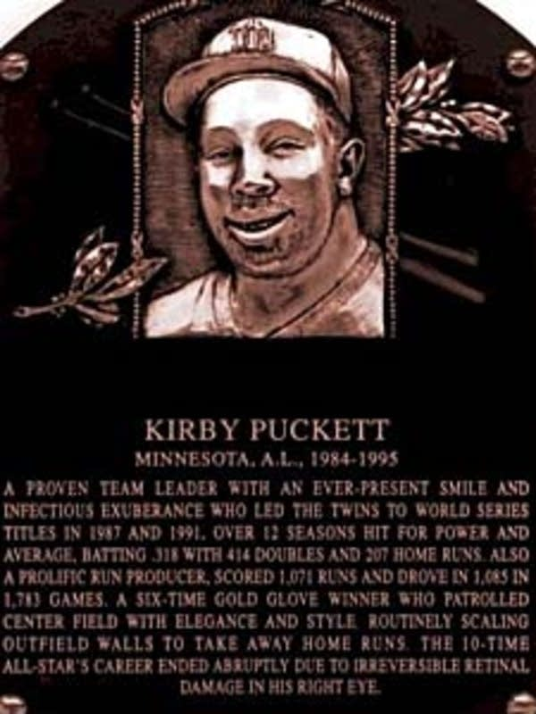 Puckett's Hall of Fame plaque