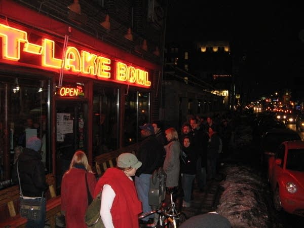 Byrant Lake Bowl caucus goers