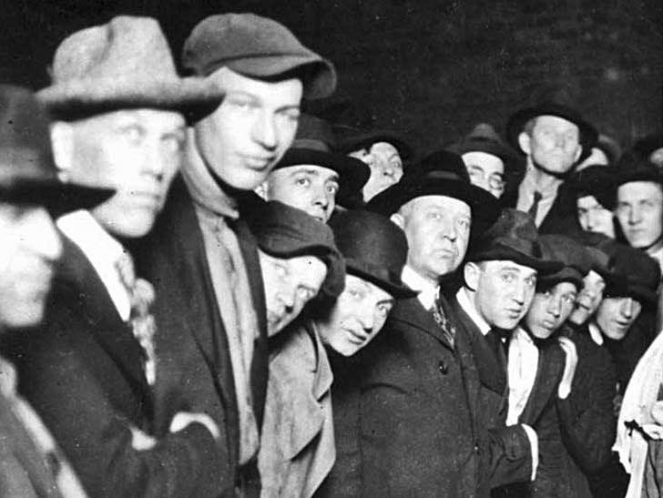 Detail of the mob at the Duluth lynching from the postcard, June, 1920.