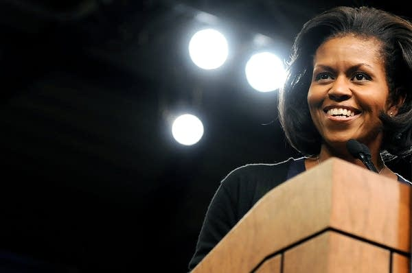 Michelle Obama greets supporters