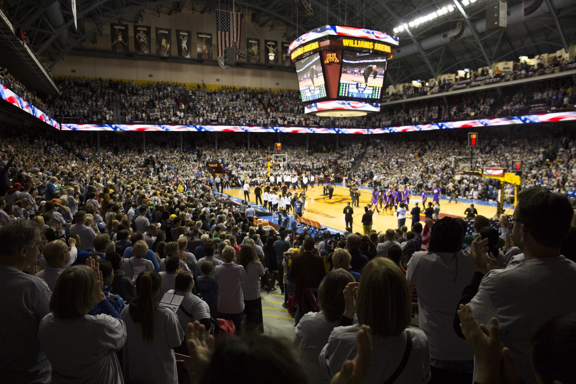 Fans pack Williams Arena.