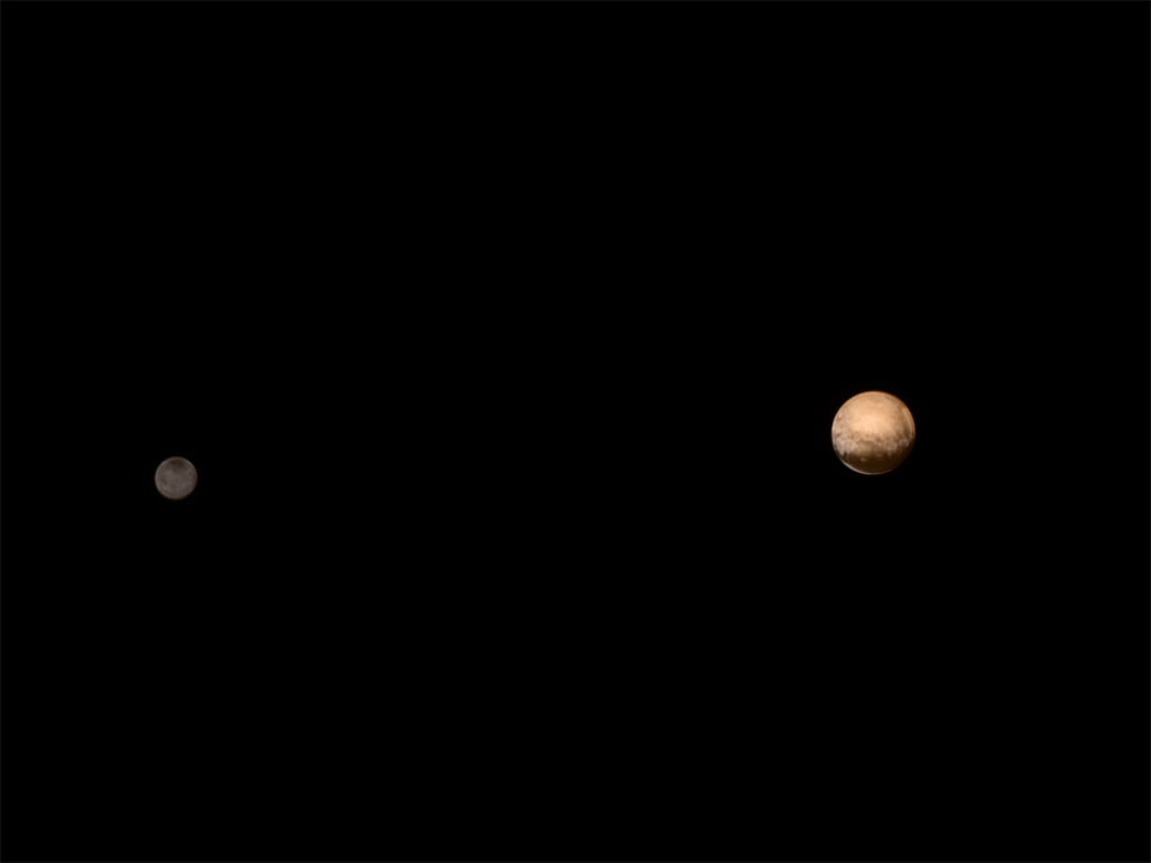 A rendering of Pluto and Charon