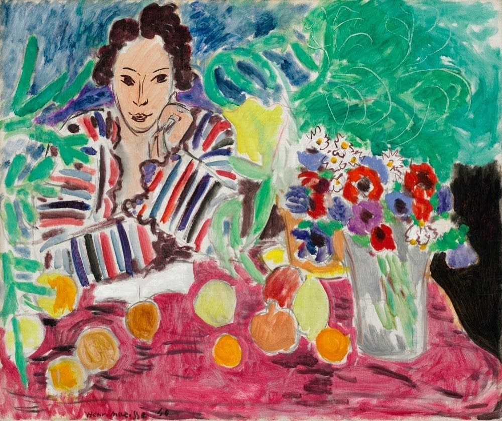 Matisse's 'Striped Robe, Fruit, and Anemones'