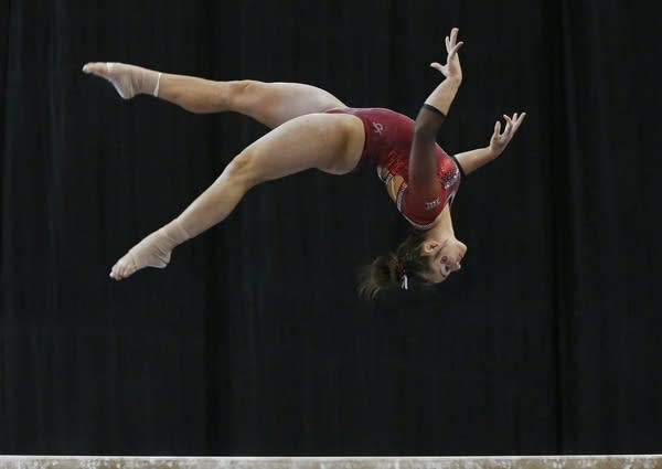 Oklahoma gymnast Maggie Nichols competes on the balance beam.