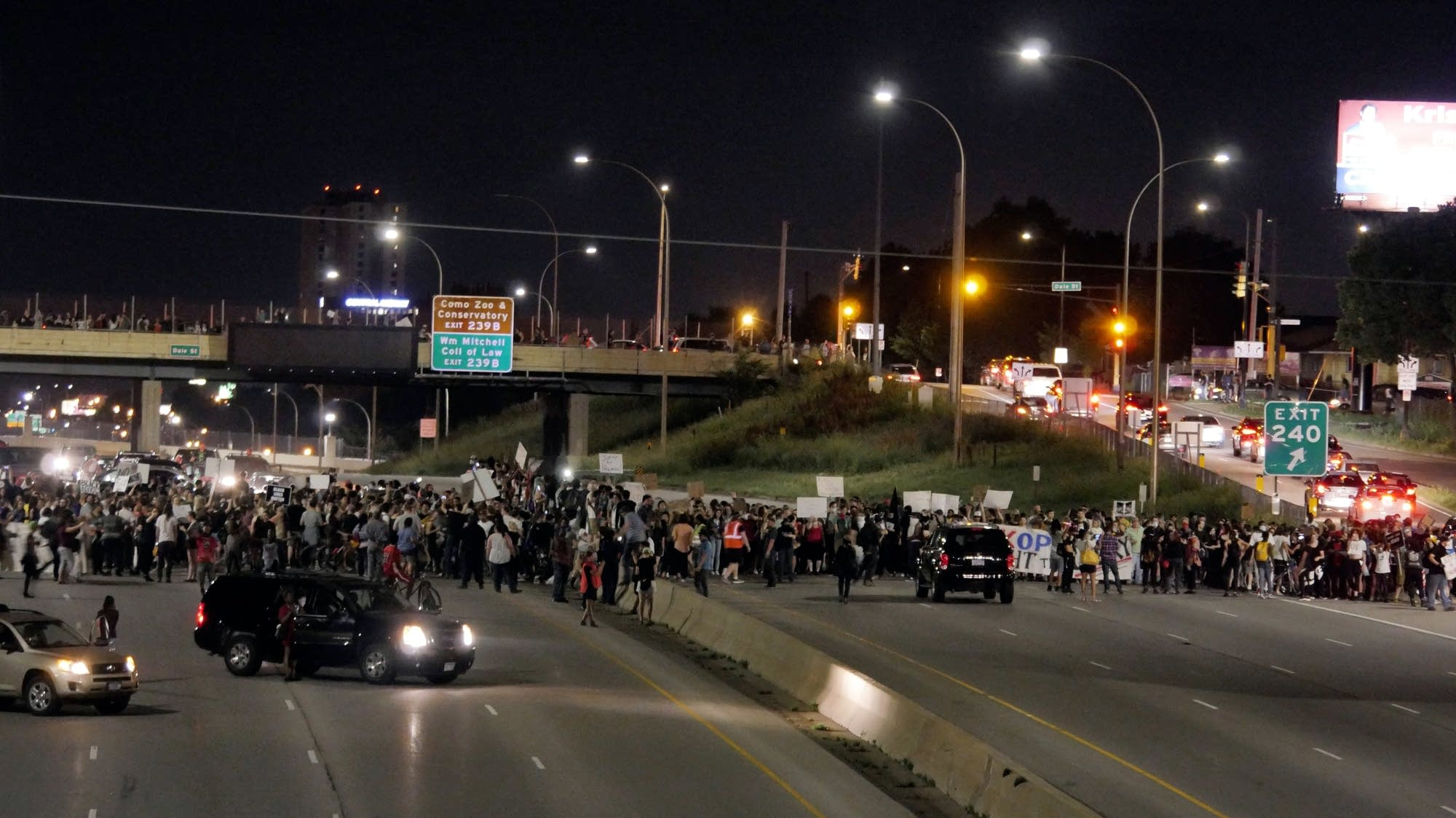 Protesters shut down I-94 at Dale in both directions.