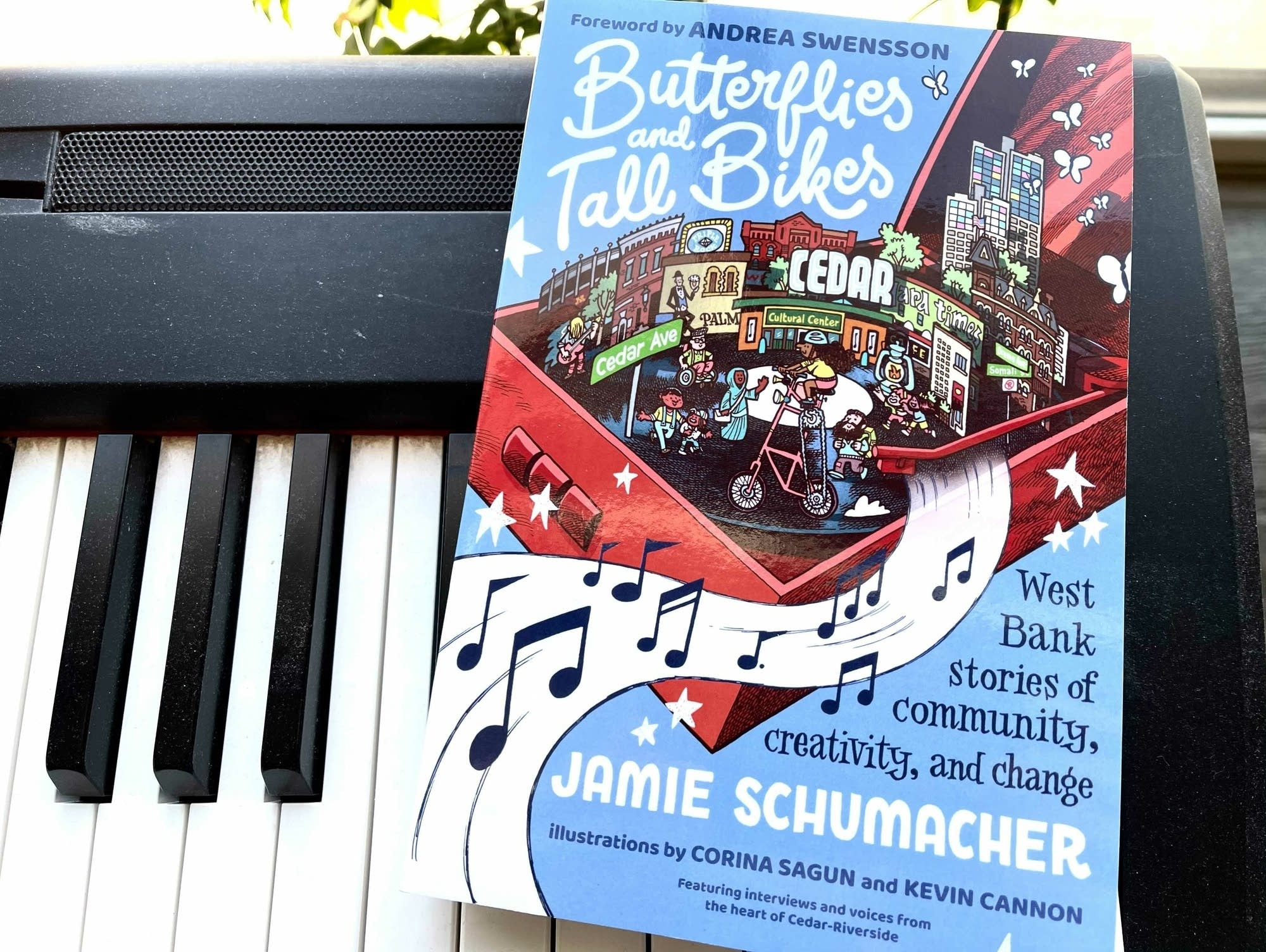 Book on keyboard: 'Butterflies and Tall Bikes.'