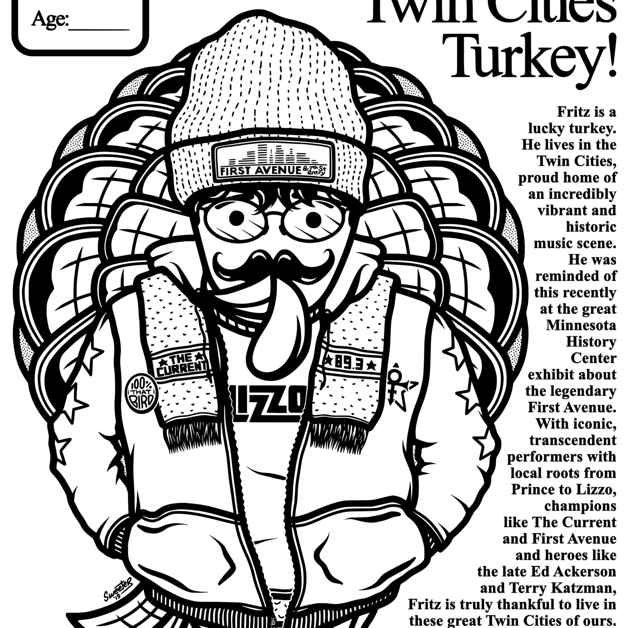 Oh You Twin Cities Turkey! Illustration coloring sheet