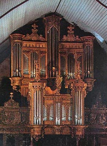 1675 Dallam organ at the Church of Saint Miliau, Guimiliau, Brittany