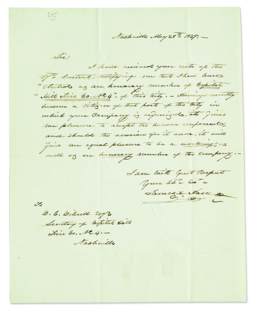 Letter written by James K. Polk