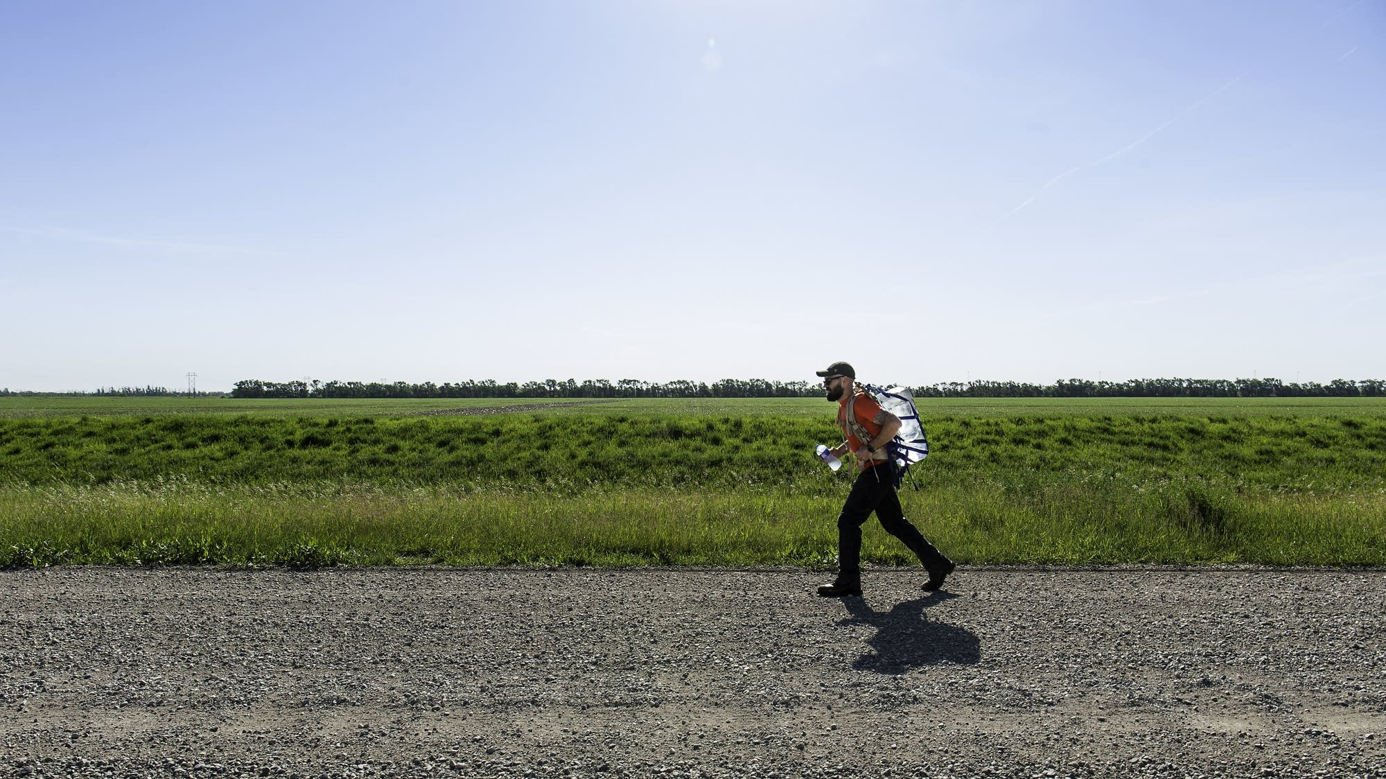 Josh Zeis walks on the outskirts of Fargo.