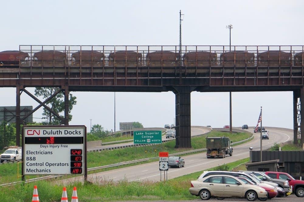 Railroad bridge over I-35 to Ore Dock 6 in Duluth