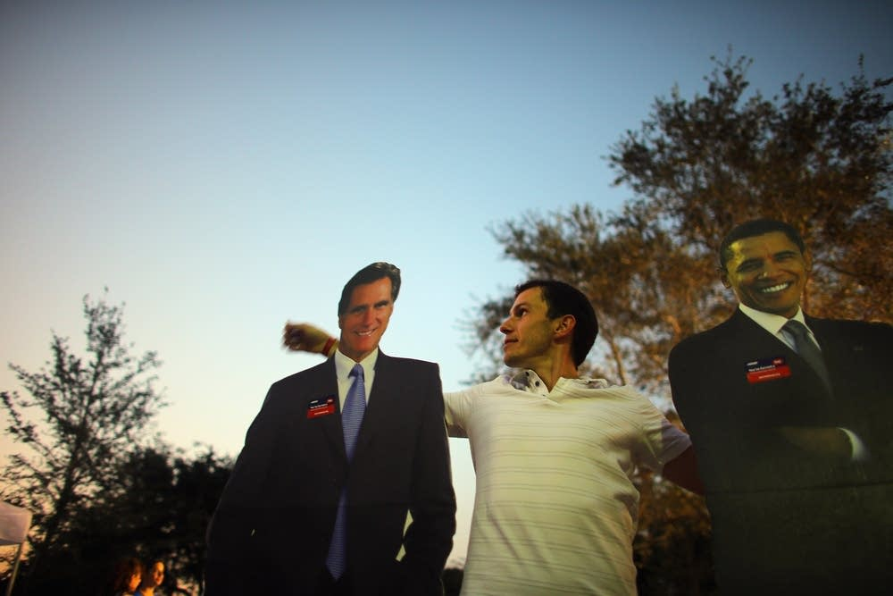 Romney and Obama cutouts