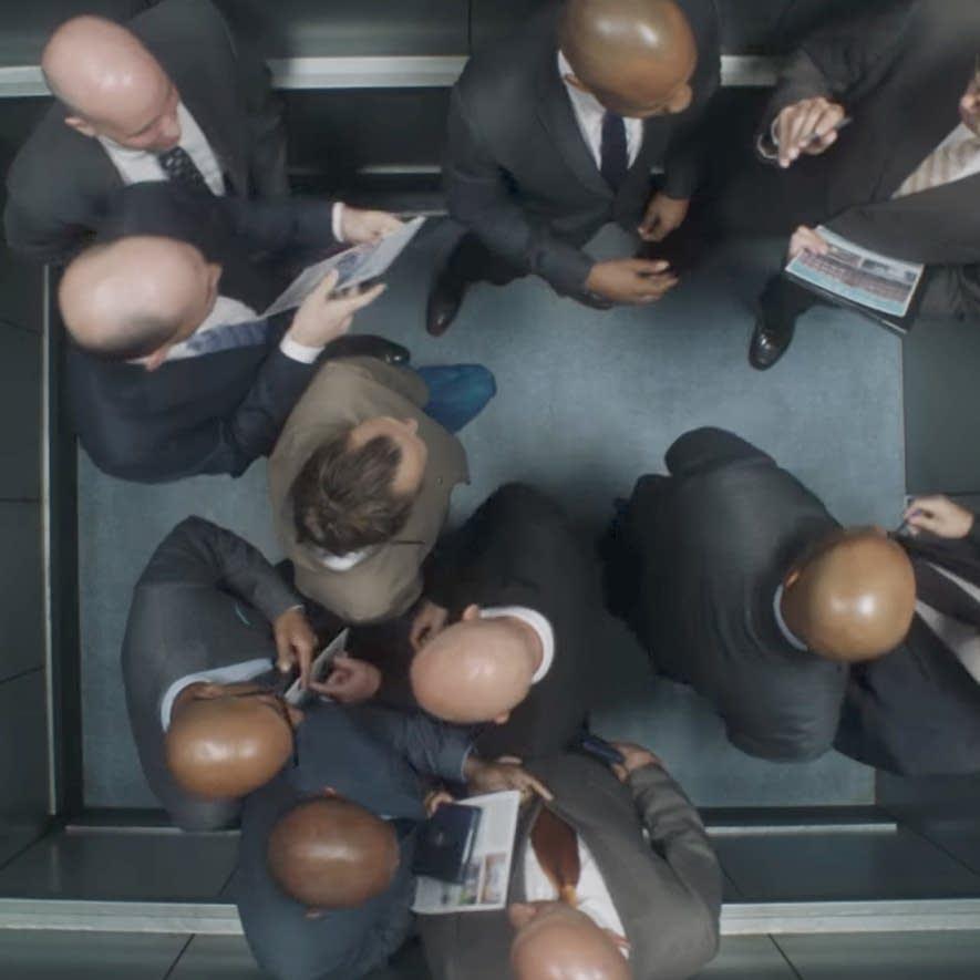 A still from Radiohead's 'Lift' video.