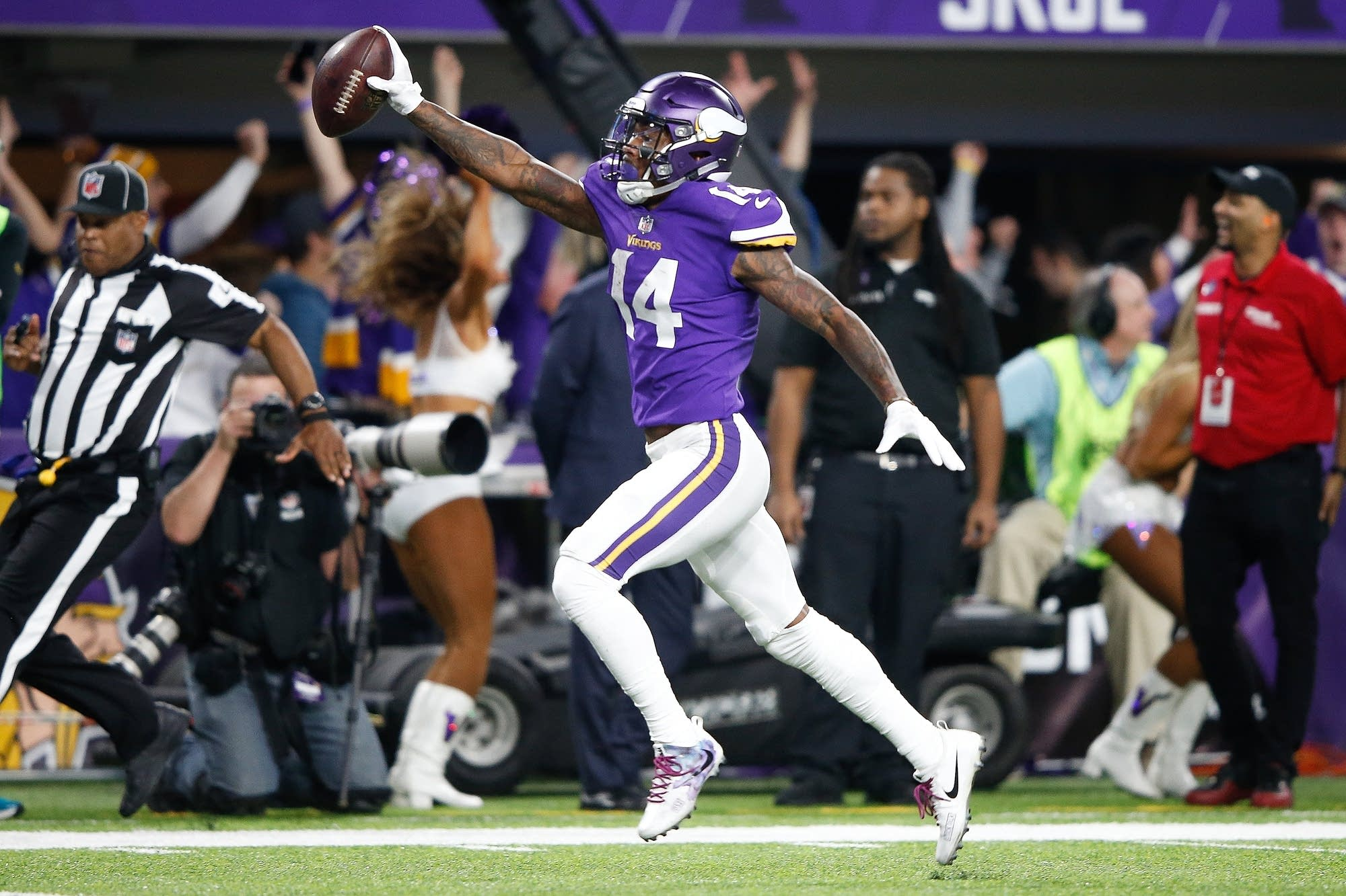 Stefon Diggs of the Minnesota Vikings scores a touchdown.