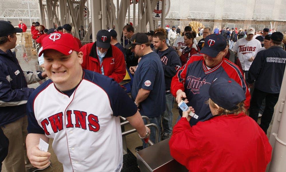 Fans enter Target Field