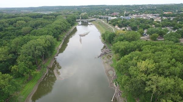 A river with low water levels