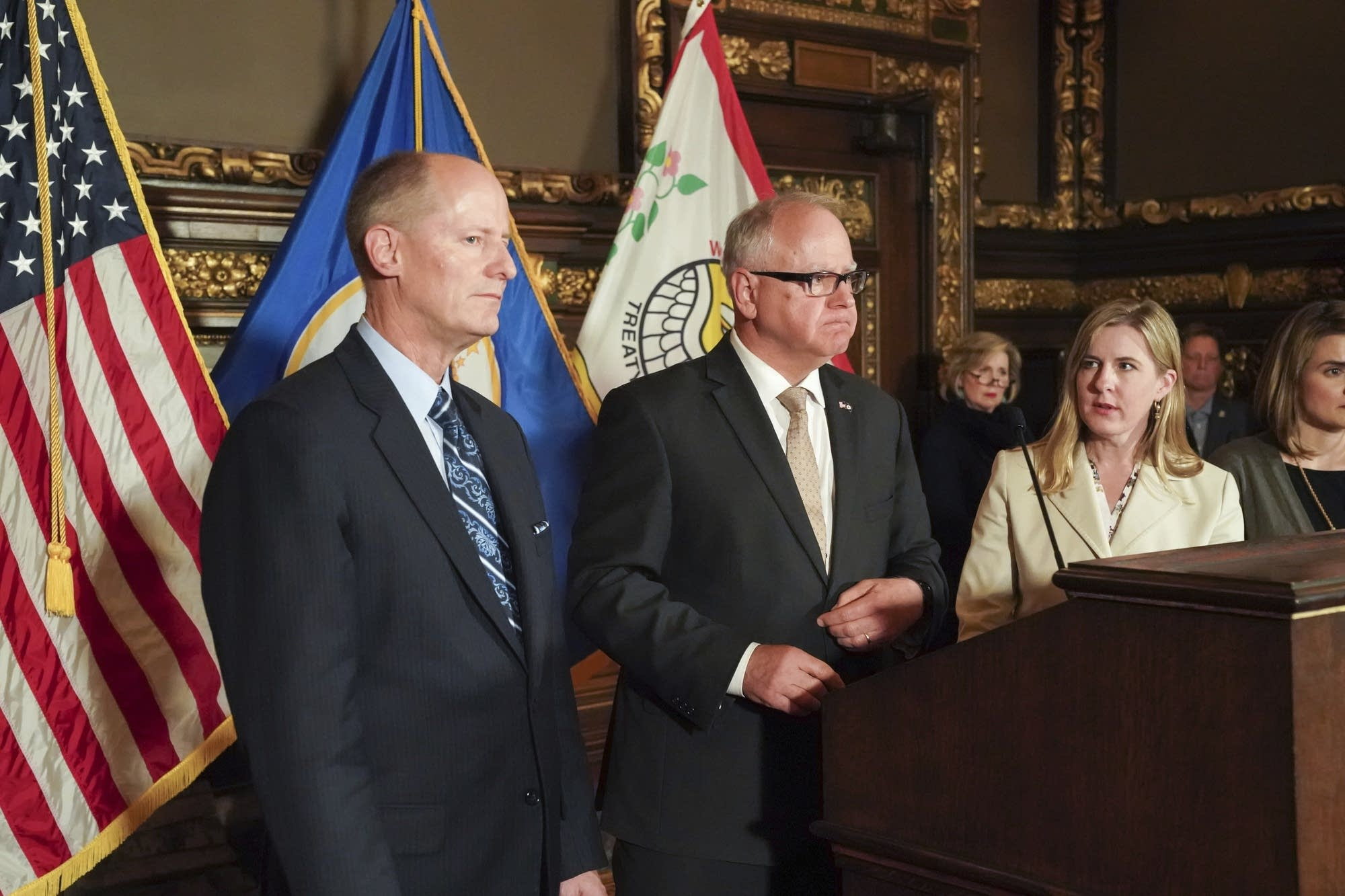 Gov. Tim Walz, Paul Gazelka and Melissa Hortman