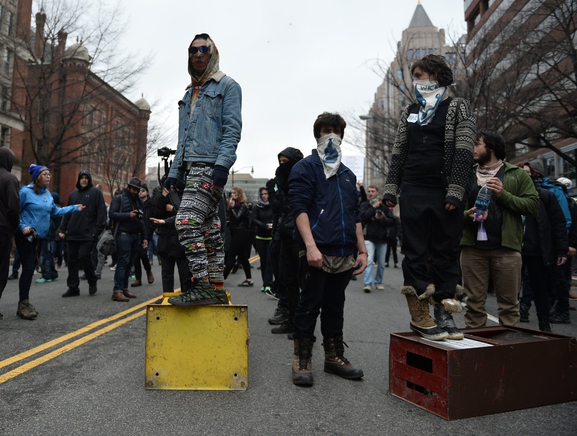 Protesters block a street after the inauguration.