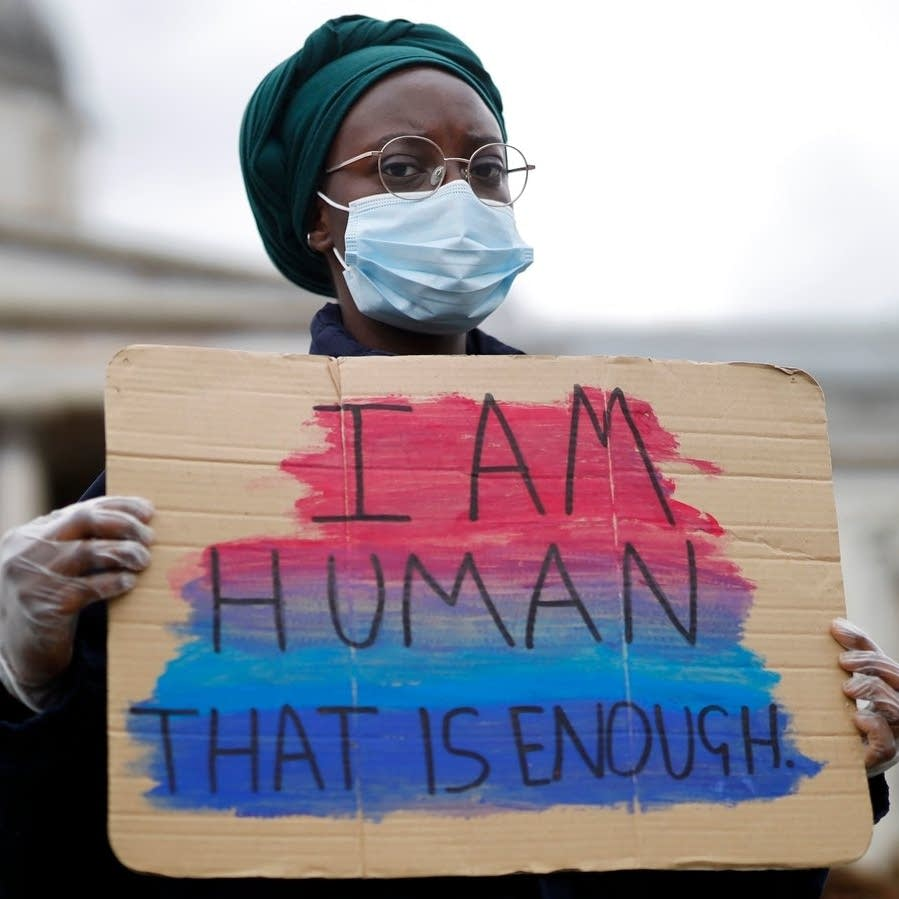 A protester photographed in London on June 5, 2020.