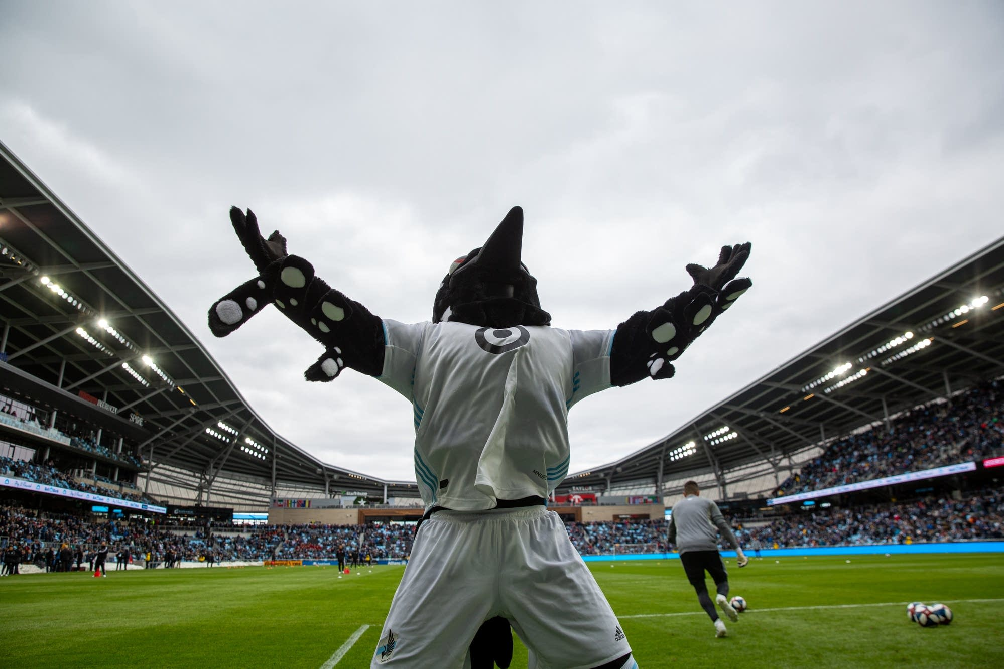 Minnesota United Mascot PK the Loon pumps up the crowd.