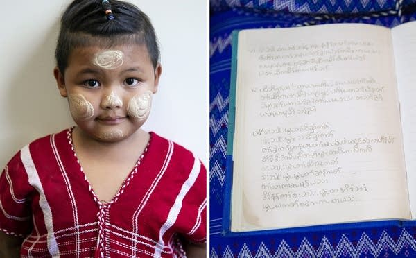 Left: A boy wears a red traditional Karen shirt. Right: lyrics in a book.