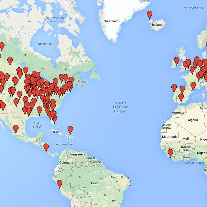 Mark Wheat's global shout-out map, Feb. 12, 2015