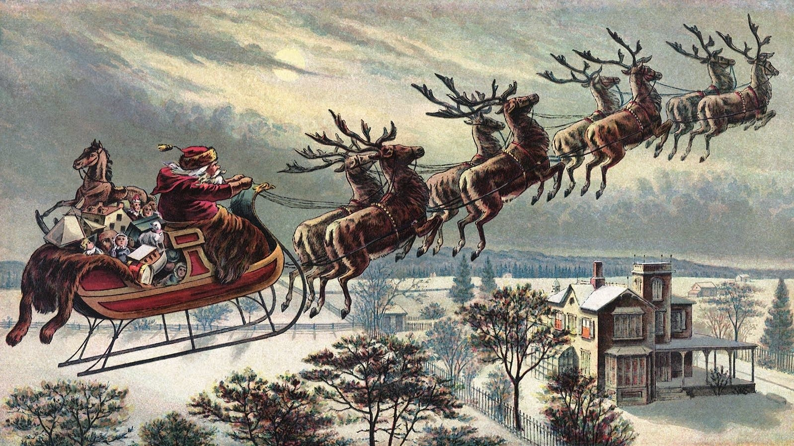 A vintage illustration of Santa Claus.
