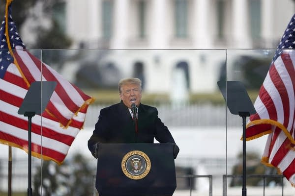 A man speaks in front of flags.
