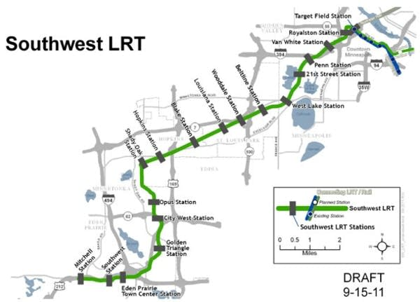 Proposed Southwest LRT route map