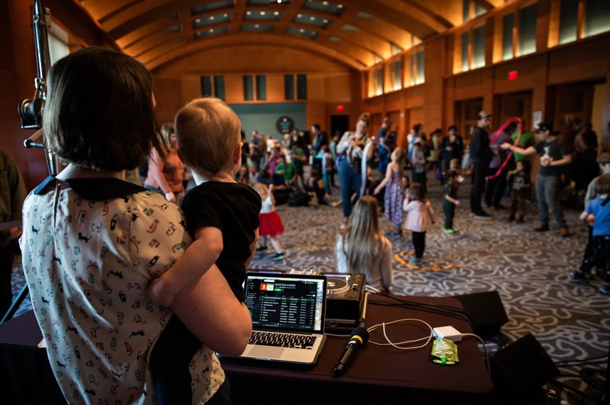Andrea Swensson looks over the Kids' Disco at Rock the Cradle 2020.
