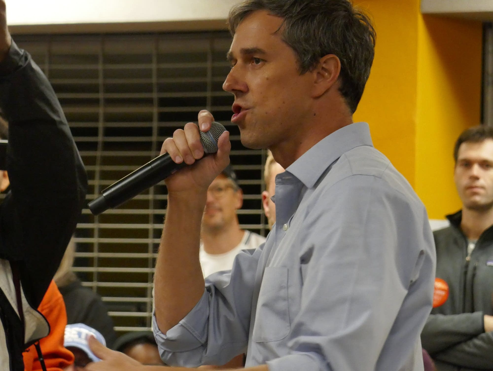 Democratic presidential candidate Beto O'Rourke speaks during a town hall