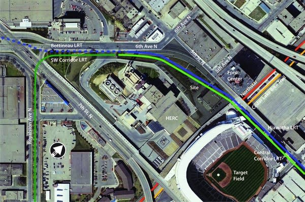 The location of the transit hub at Target Field
