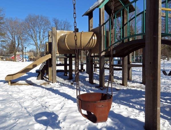 The playground equipment in Longfellow Park